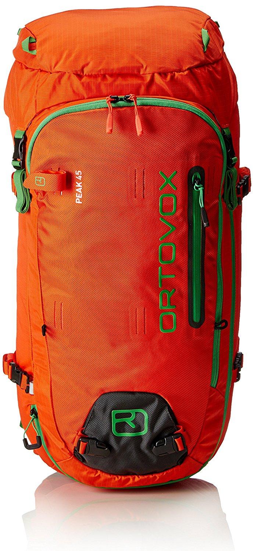 Ortovox Peak 45 -Crazy Orange - Front view - circumferential zipper and fastenings