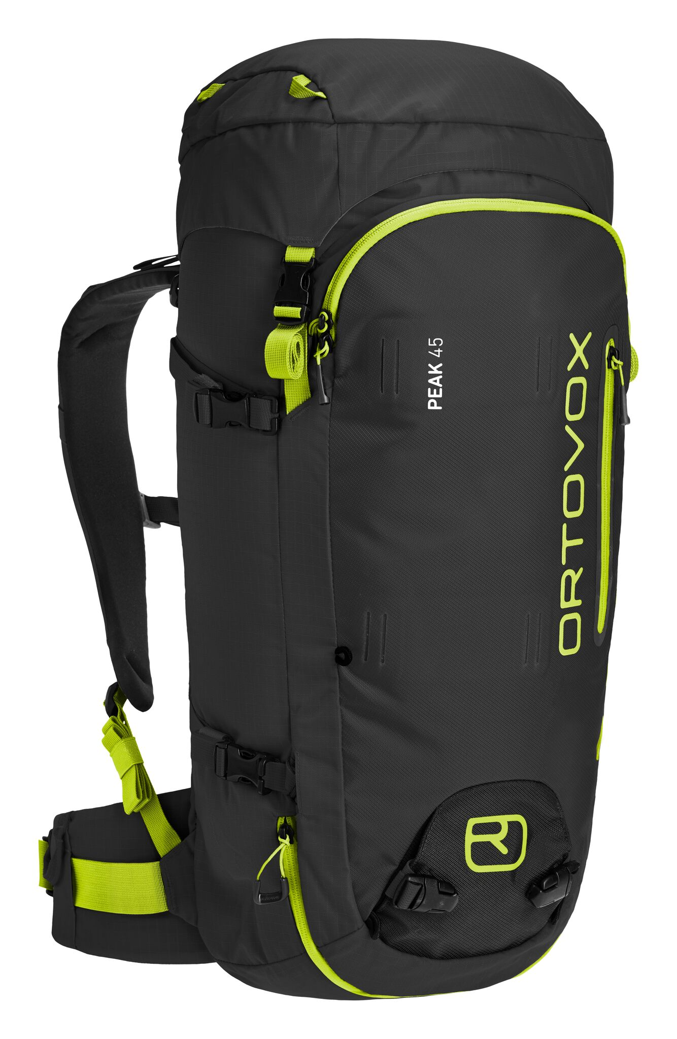Ortovox Peak 45 in Black Anthracite - Front view displaying the zip pockets, attachments and shoulder and waist straps
