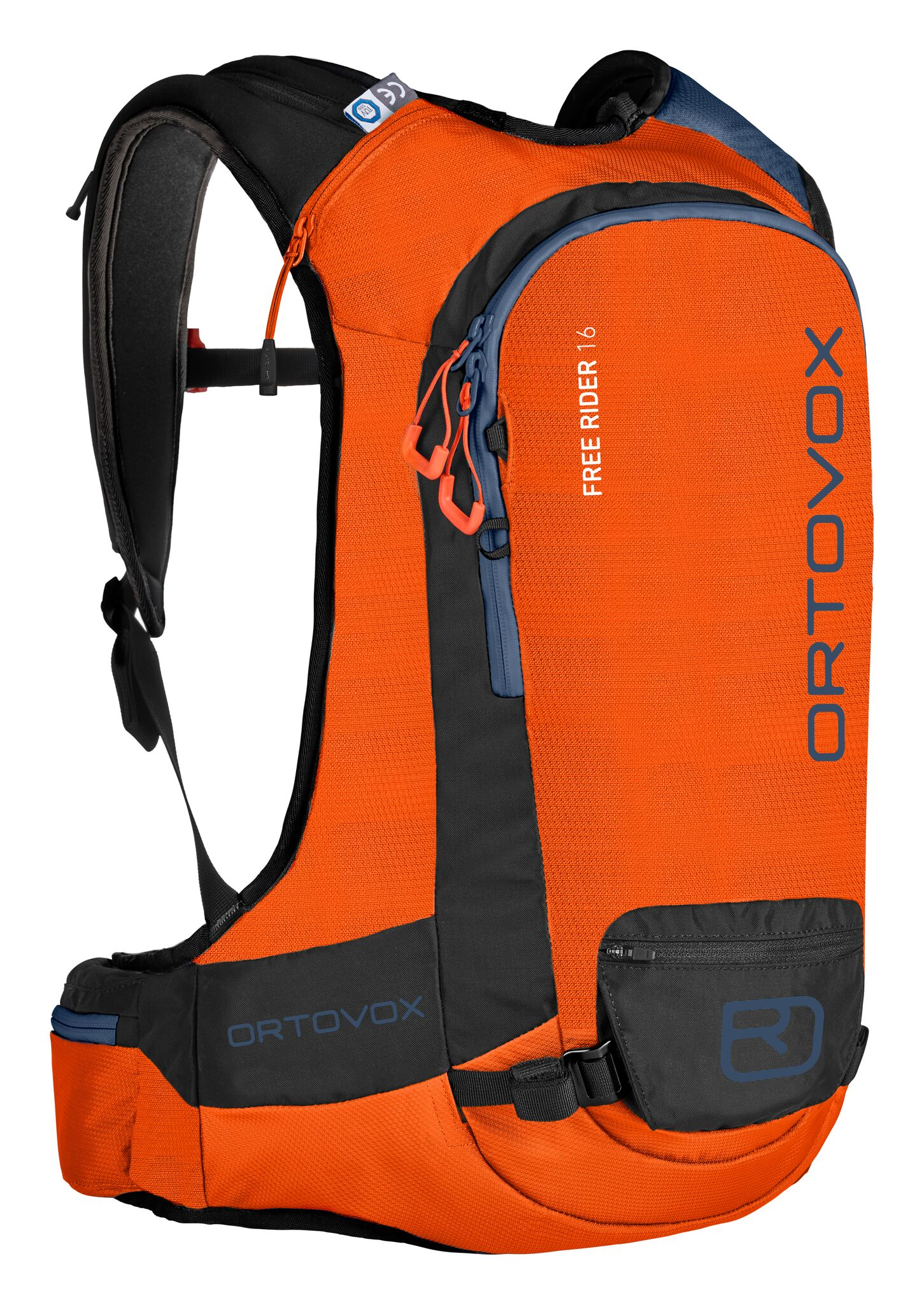 Ortovox Freerider 16L - Crazy Orange - Front view - safety compartments, attachments and loops