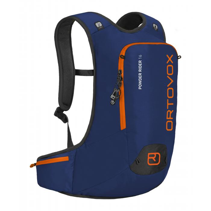 Ortovox Powder Rider 16L in Strong Blue - Front view featuring the diagonal ski fastener