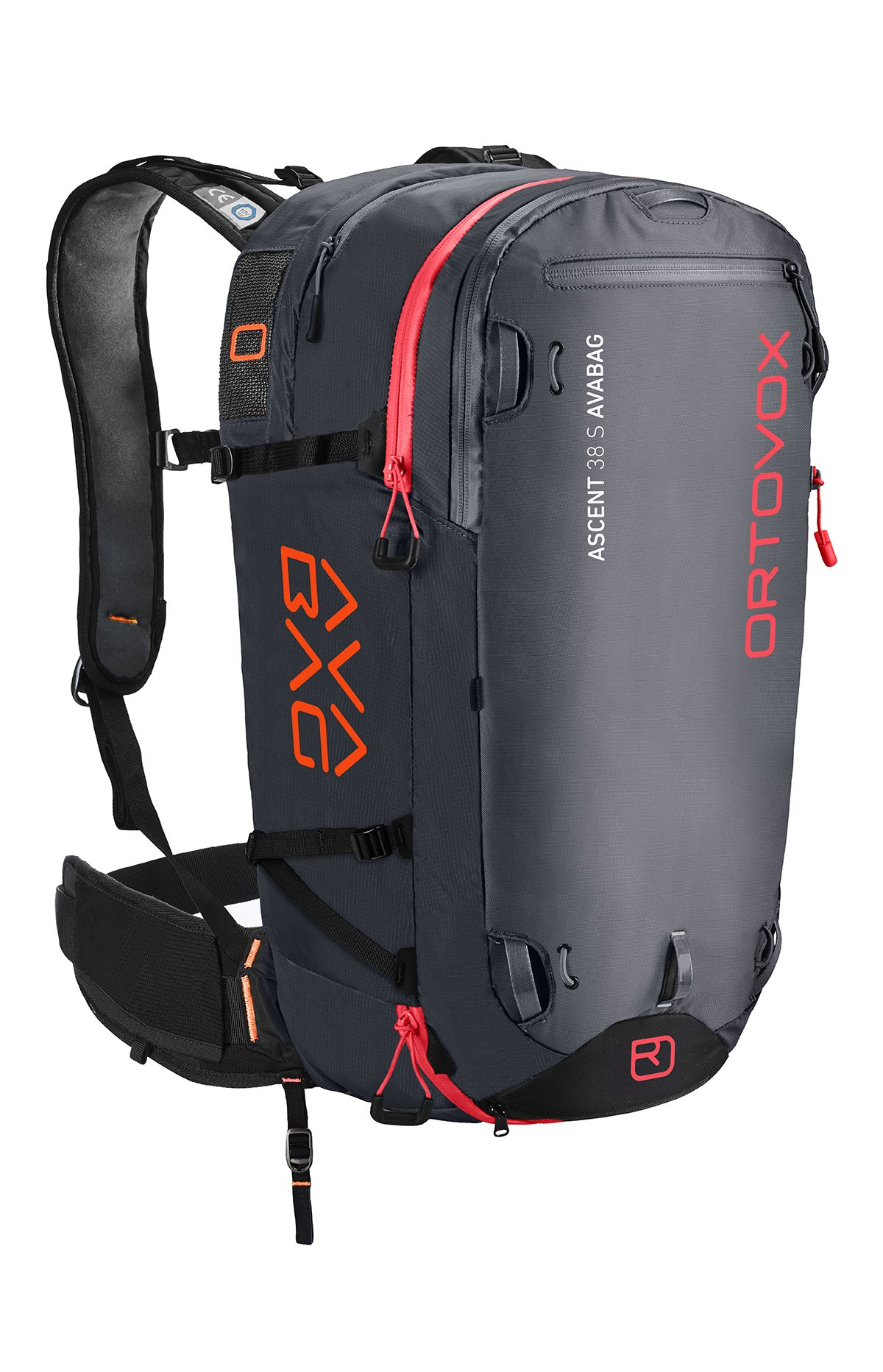 Front View - Black Anthracite - Non Inflated - Ortovox Ascent 38 S Avabag Backpack