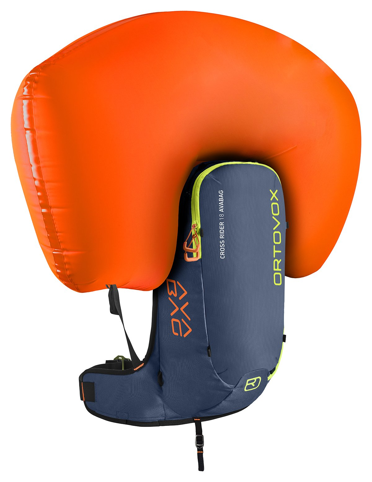 Inflated airbag - Front View - Night Blue - Ortovox Cross Rider 18 Avabag