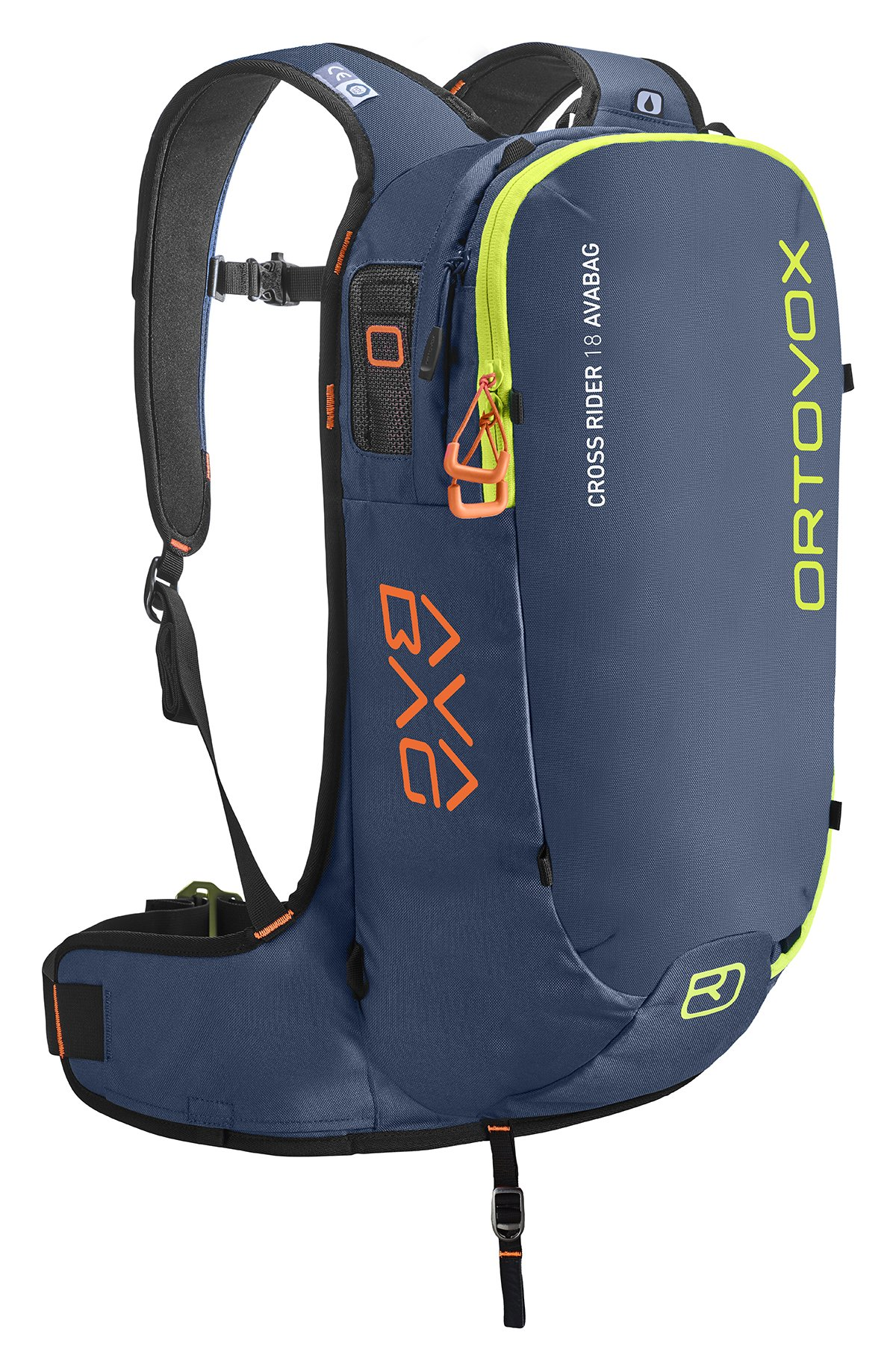 Front View - Non Inflated - Night Blue - Ortovox Cross Rider 18 Avabag Backpack
