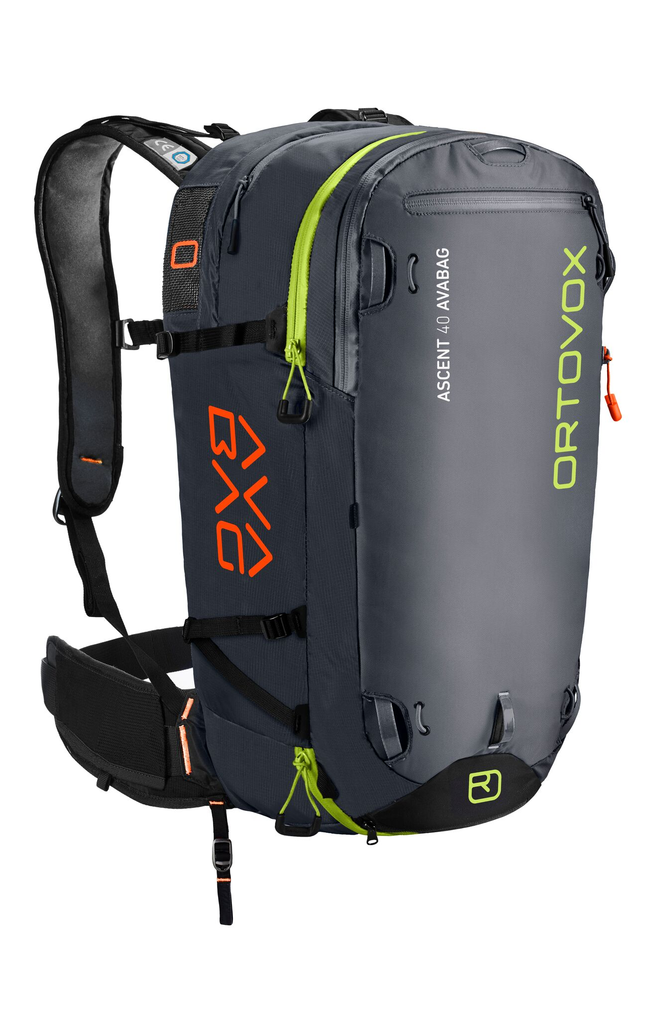 Front View - Non Inflated - Black Anthracite - Ortovox Ascent 40 Avabag