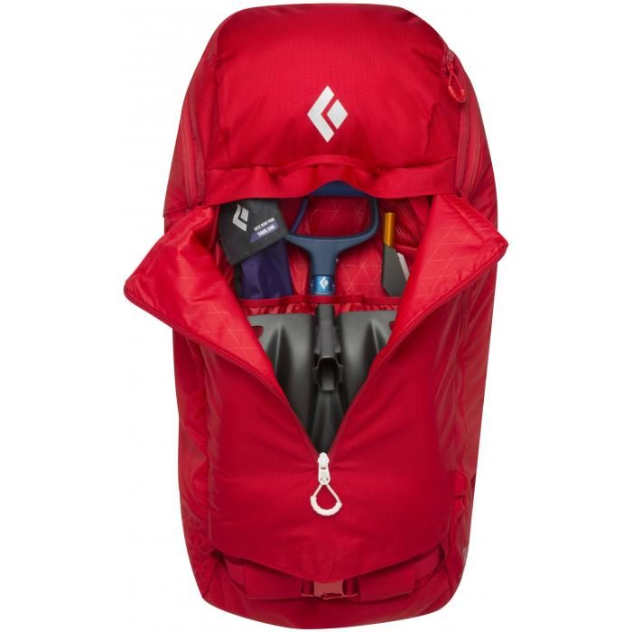Front View - Quick Access to your Avalanche Emergency Equipment - Black Diamond Saga 40 Jetforce airbag - Fire Red