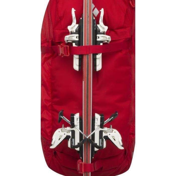 Front Ski Carry - Black Diamond Saga 40 Jetforce airbag - Fire Red