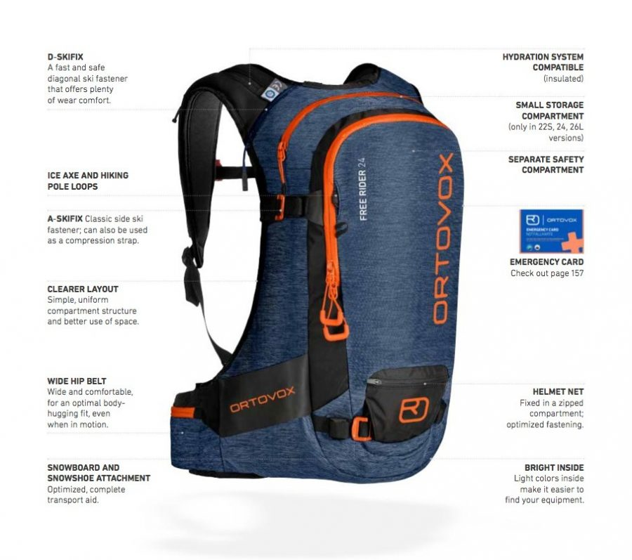 Front View - Features Diagram - Ortovox Free Rider 24 - Night Blue Blend
