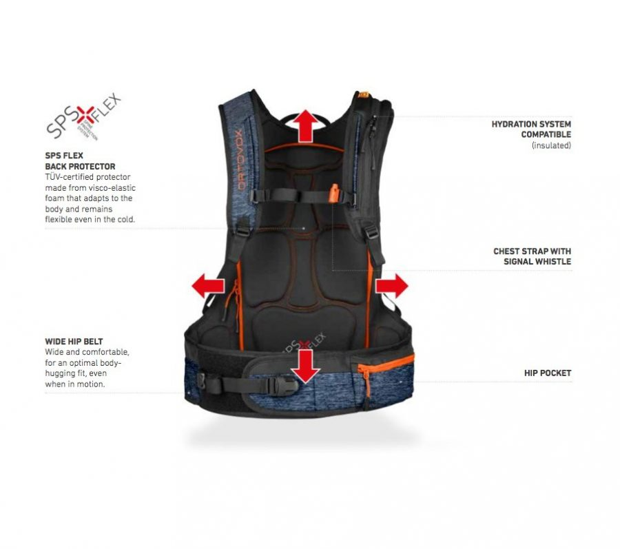 Back View - Full Feature Diagram - Ortovox Freerider 26 - Night