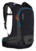 Ortovox Free Rider 16 - Black Raven - Front view showing safety compartments, attachments and loops