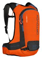 Ortovox Freerider 16 - Crazy Orange - Front view - safety compartments, attachments and loops
