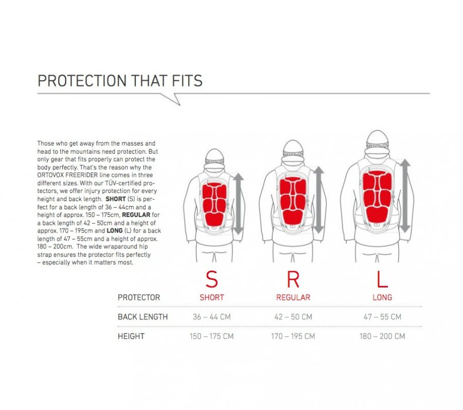 Protection that fits diagram and size chart - Ortovox Free Rider 16
