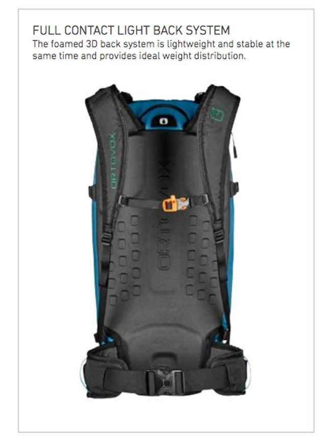 Full contact light back system with 3D foam - Ortovox Ascent 32L Tour Series