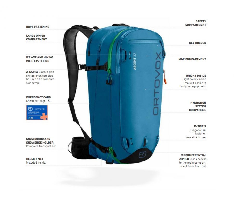 Full feature diagram and information - Ortovox Ascent 32L Tour Series - Blue Sea