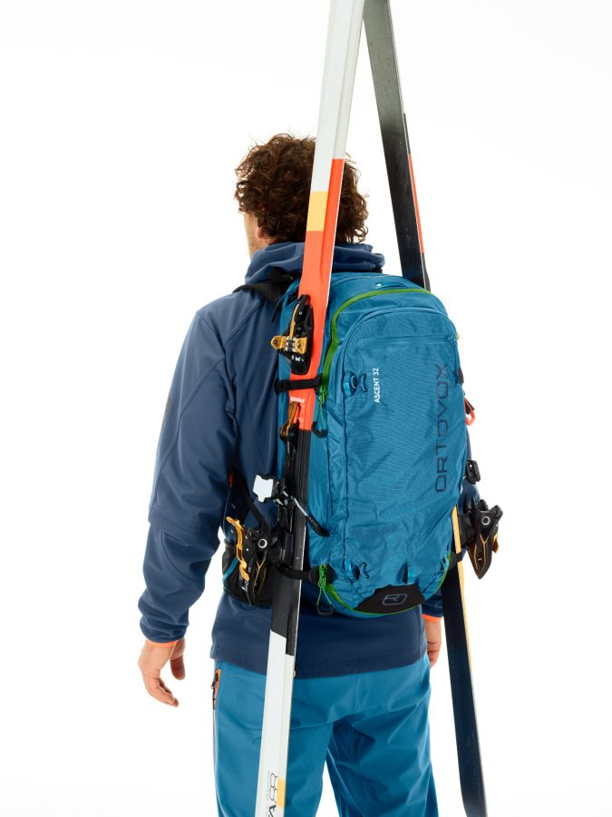 Comfortable and reliable A-Skifix attachment - Ortovox Ascent 32L Tour Series - Blue Sea
