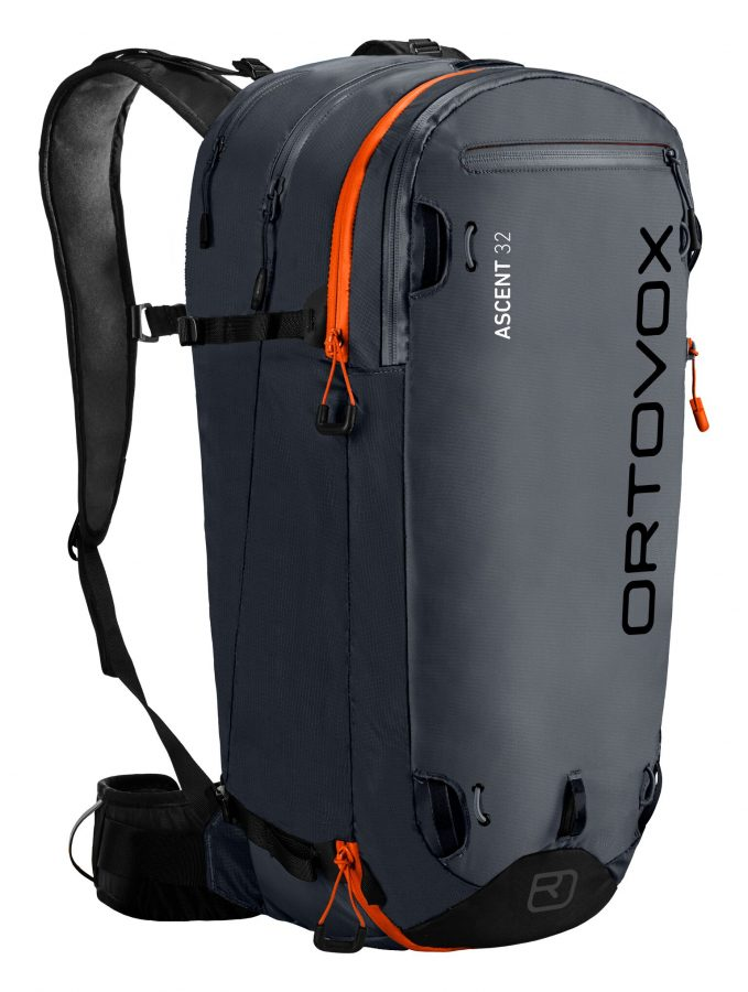 Front View displaying the ice axe and hiking pole fastening and multiple zipped compartments - Ortovox Ascent 32L Tour Series - Black Anthracite