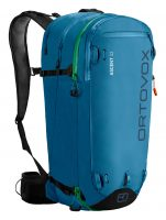 Ortovox Ascent 32L Tour Series in Blue Sea - Back view displaying the ice axe and hiking pole fastening and multiple zipped compartments
