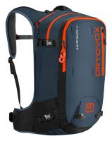 Ortovox Haute Route 32 L in Night Blue - Front view showing the zip compartments and shoulder straps