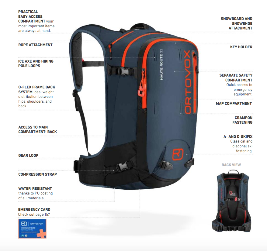 Full Features Diagram - Ortovox Haute Route 32 - Night Blue