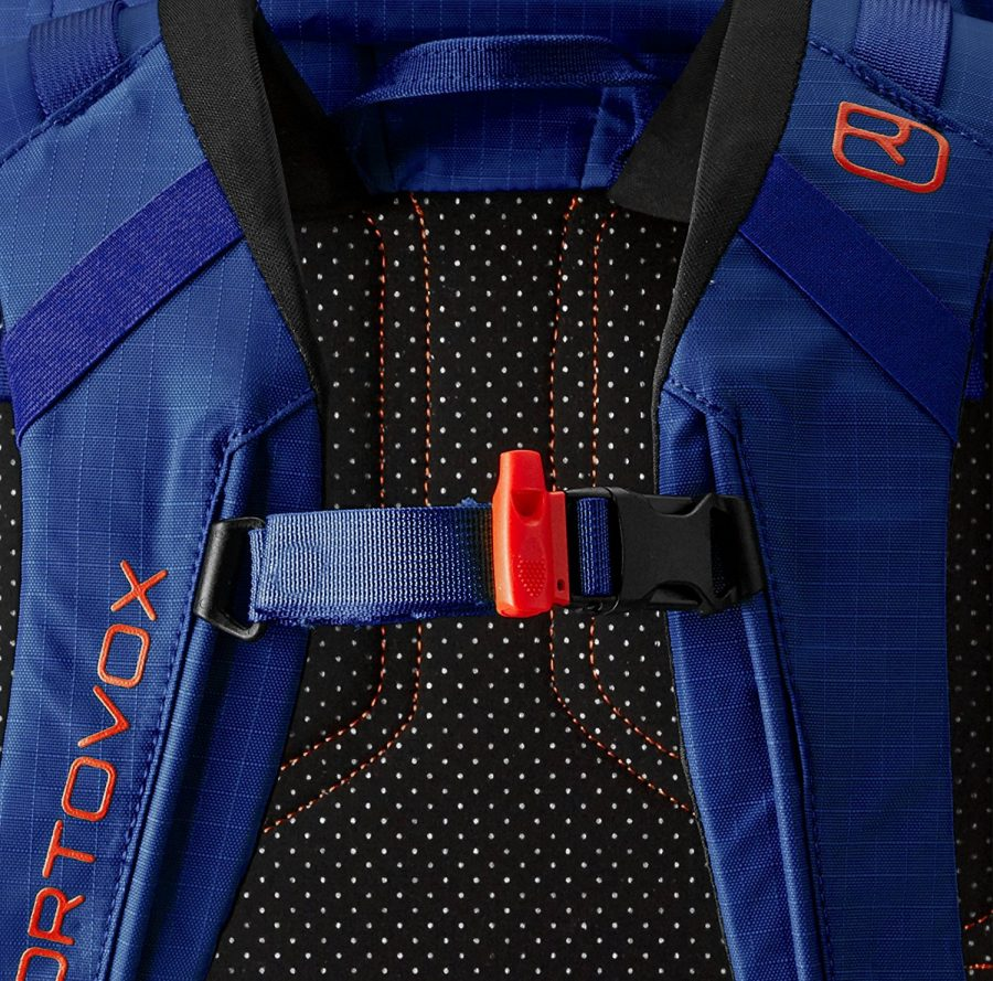 Safety Whistle and Swiss wool back protection - Ortovox Peak 35 - Strong Blue