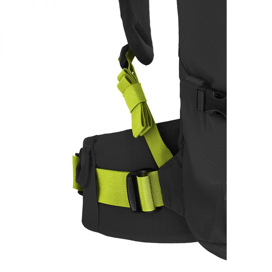 Padded shoulder and adjustable hip belt straps for carry weight distribution - Ortovox Peak 45 - Black Anthracite