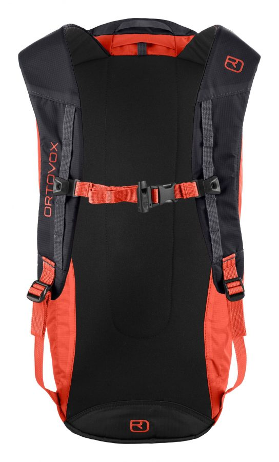 Back View - lightly padded shoulder straps and integrated safety whistle - Ortovox Trad 18 - Crazy Orange