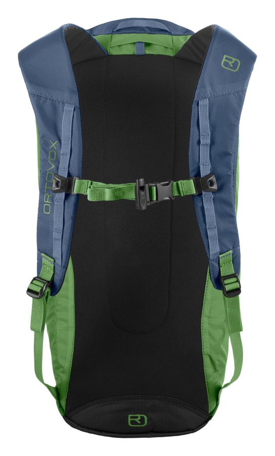 Back view -lightly padded shoulder straps and integrated safety whistle - Ortovox Trad 18 - Eco Green