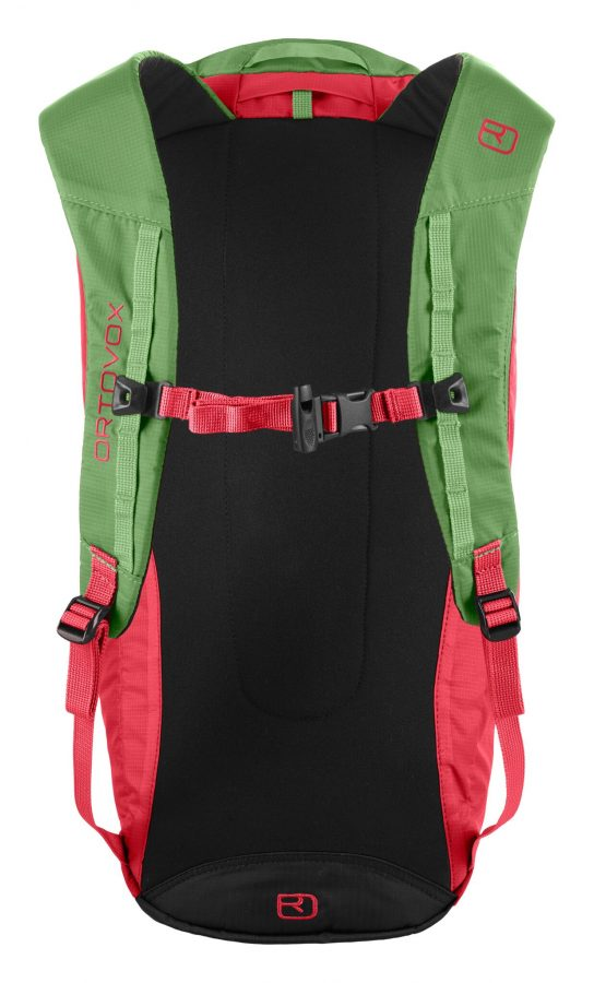 Back View - lightly padded shoulder straps and integrated safety whistle - Ortovox Trad 18 - Hot Coral