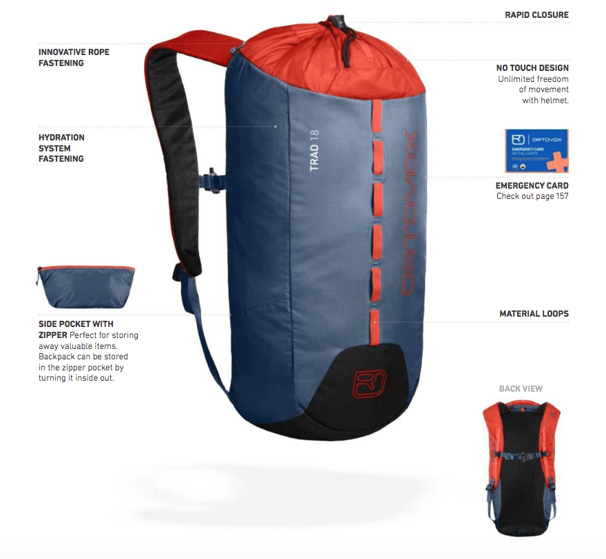 Backpack features diagram and information - Ortovox Trad 18 - Night Blue