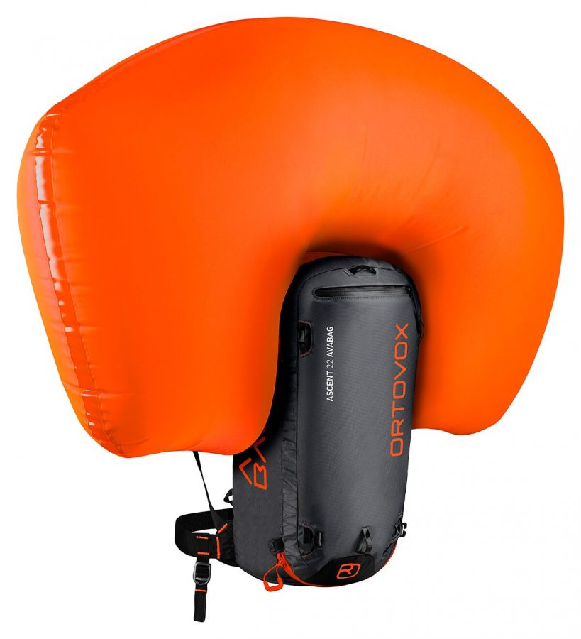 Inflated Airbag - Ortovox Ascent 22 Avabag - Black Anthracite
