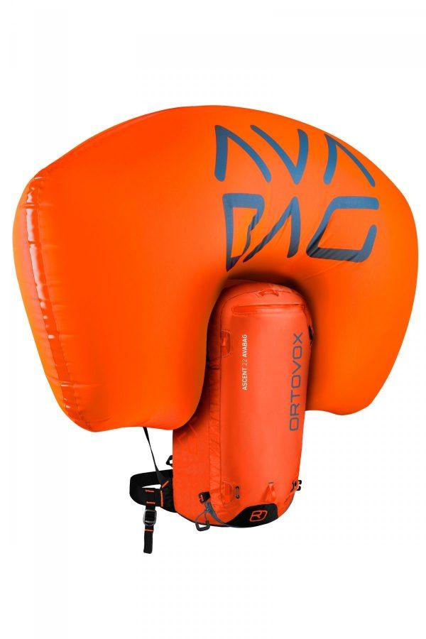 Inflated Airbag - Ortovox Ascent 22 Avabag - Crazy Orange