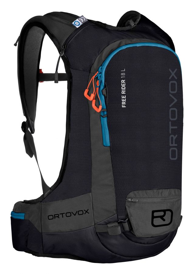 Front View - Ortovox Free Rider 18 L - Black Raven