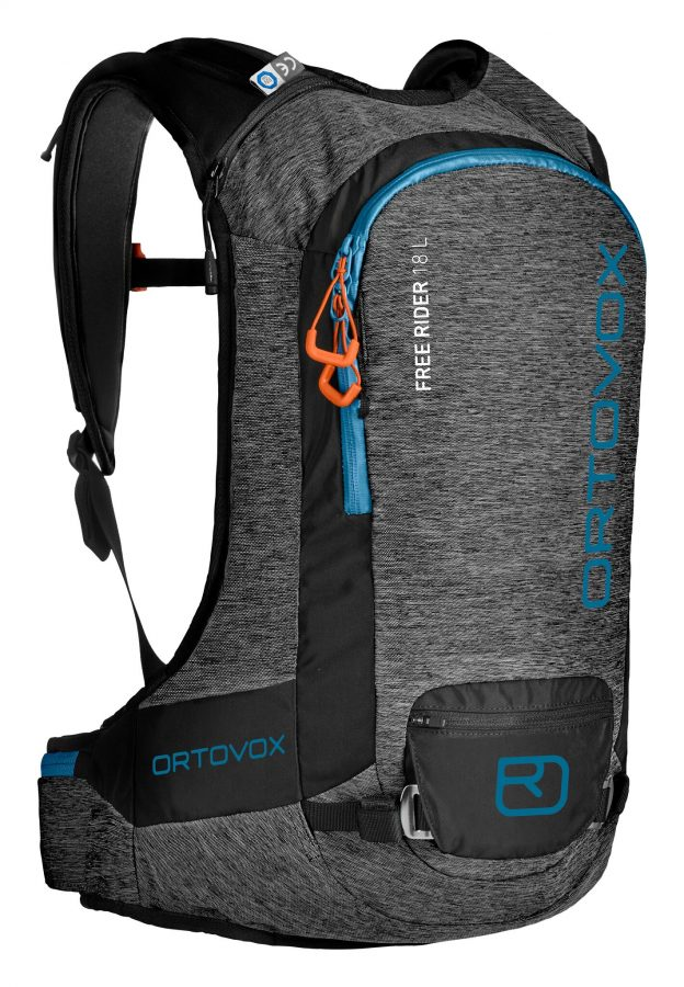 Front View - Ortovox Free Rider 18 L - Black Anthracite Blend