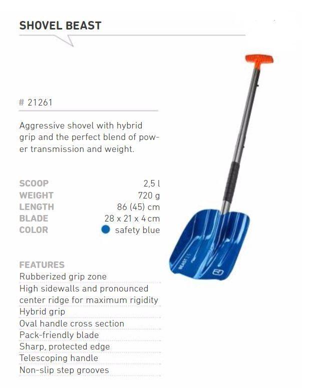 Shovel Information - Blue - Ortovox Beast Shovel