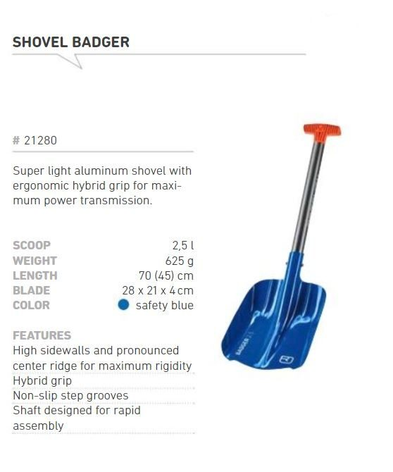 Information and Features - Ortovox Badger Shovel