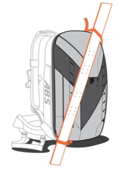 ABS P.Ride Base Unit + 45+5L Zip-on - Diagonal Ski Carry