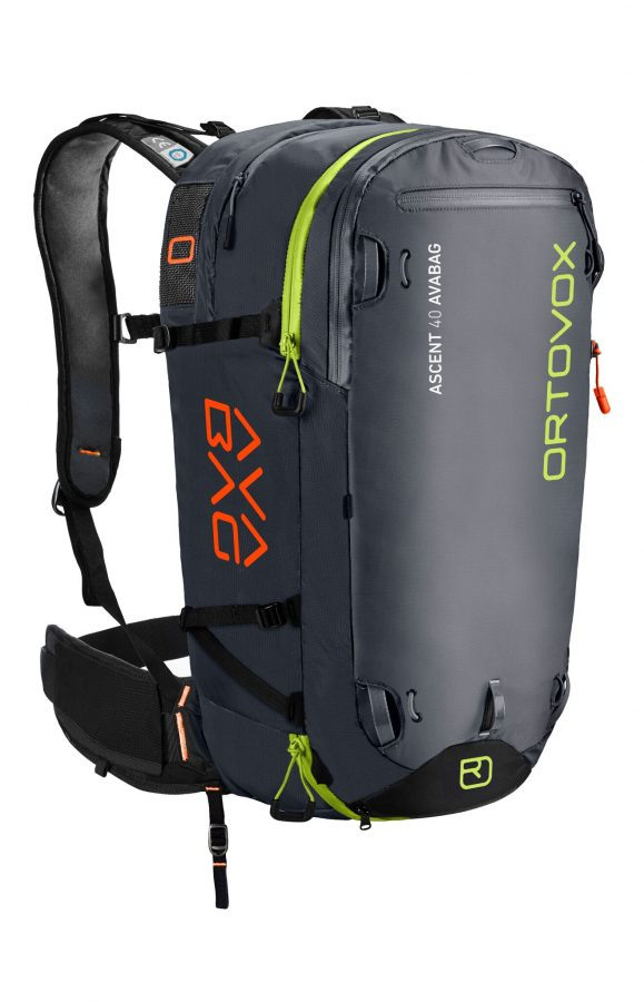 Ortovox Ascent 40 Avabag - Front View - Non Inflated - Black Anthracite