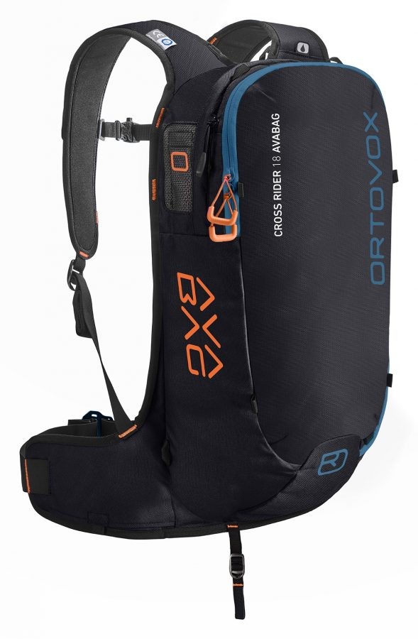 Ortovox Cross Rider 18 Avabag Backpack - Front View - Non Inflated - Black Raven