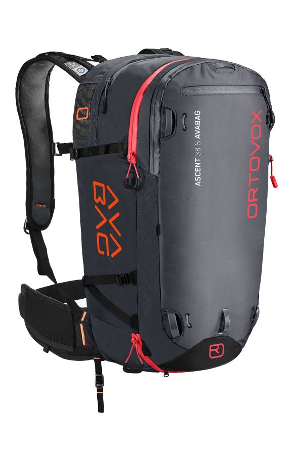 Ortovox Ascent 38 S Avabag Backpack - Front View - Black Anthracite - Non Inflated
