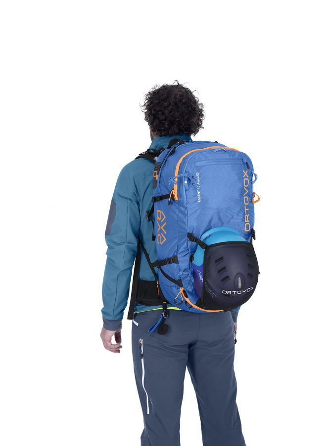 Ortovox Ascent 38 S Avabag Backpack - Front View - Helmet Net Attachment
