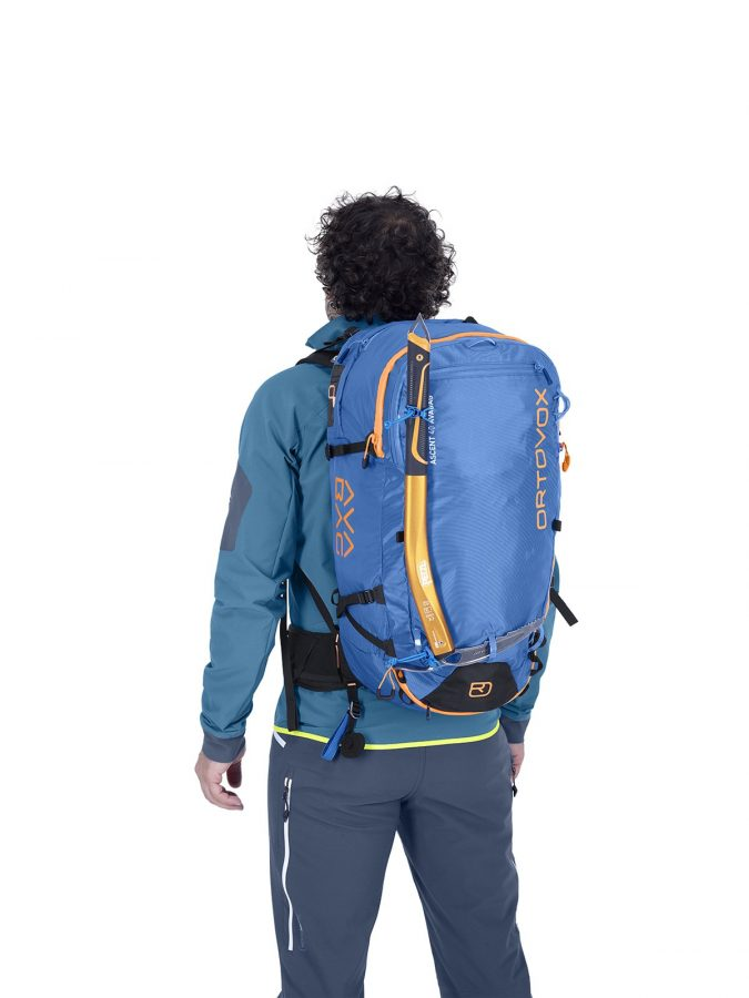 Ortovox Ascent 38 S Avabag Backpack - Front View - Ice Axe Attachment