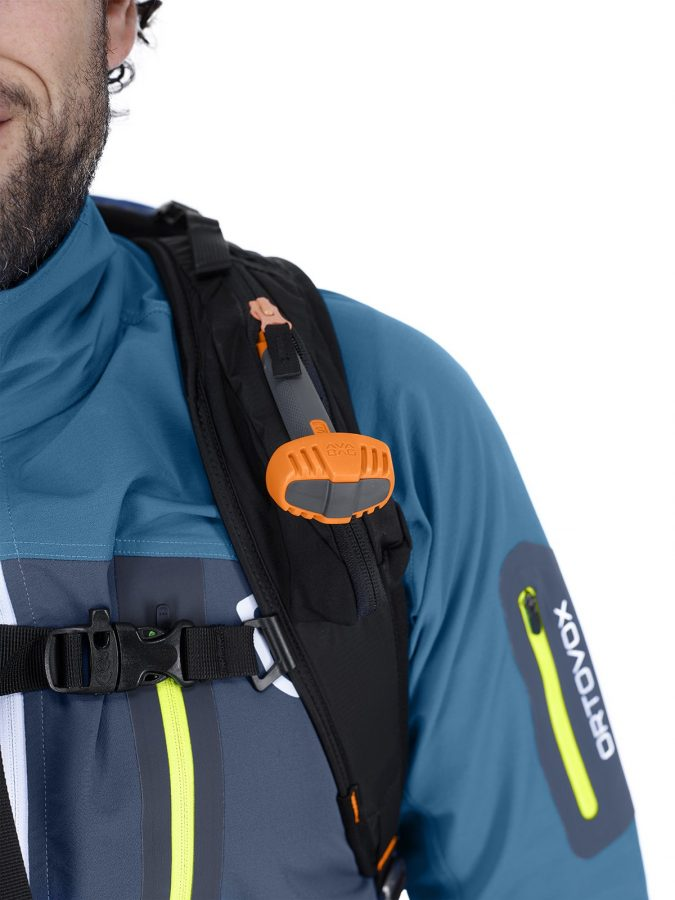 Ortovox Ascent 38 S Avabag Backpack - Front View - Mid Aqua - Shoulder strap - Safety Whistle