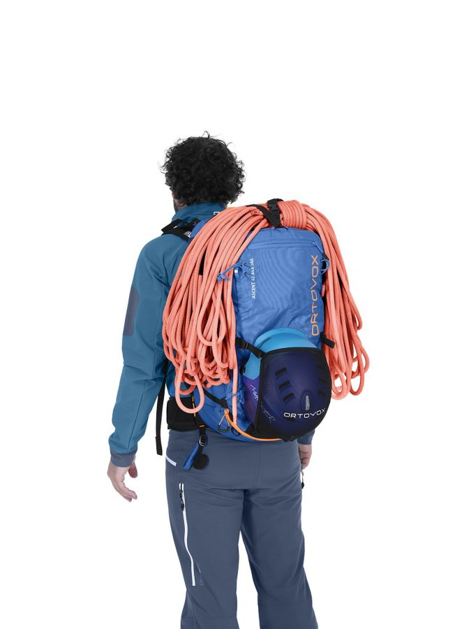 Ortovox Ascent 40 Avabag Backpack - Front View - Rope Fastening