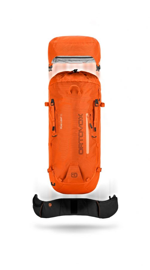 Ortovox Peak light 32 - Front View - Removable Lid and Hip belt