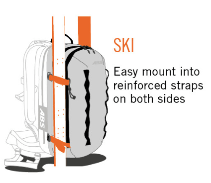ABS P.Ride Compact 18 L Zip-on - A-Frame Ski Carry Method