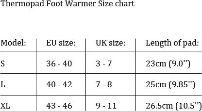 Thermopad Foot Warmer Size Chart