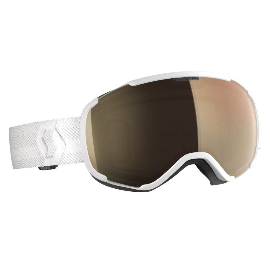 Scott Faze II Light Sensitive Goggle - White LS Bronze Chrome - Front View