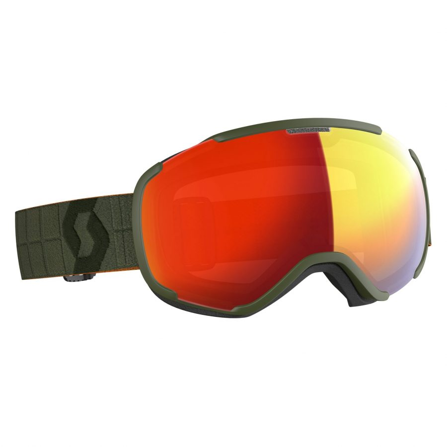 Scott Faze II Goggle - Khaki Green Enhancer Red Chrome - Front View