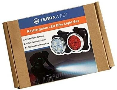 TerraWest Rechargeable LED Bike Light Set