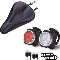 TerraWest Rechargeable LED Bike Lights & Saddle Cushion Seat Cover Set